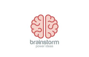 Brain flat style vector logo design. Brainstorm concept
