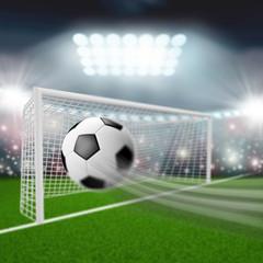 soccer ball flies into the goal