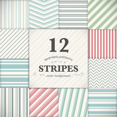 Set of 12 stripes and lines seamless vector texture backgrounds