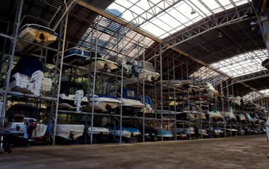 Boats in a dry rack&stack storage facility