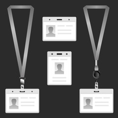 Lanyard, name tag holder end badge, templates
