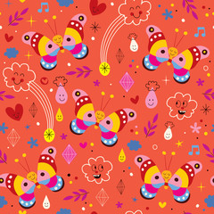 Butterflies nature seamless pattern