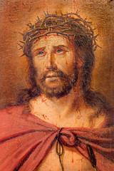 Brugge - The detail of paint of Jesus Christ with the crown