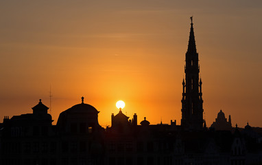 Brussels - Silhouette from Monts des Arts in evening.