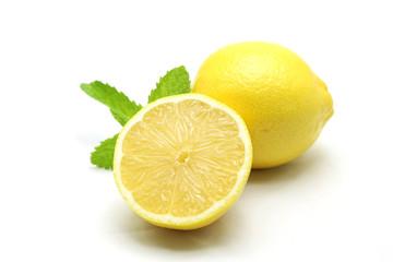 Wall Mural - Fresh lemon isolated on white background