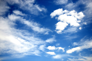 Blue sky with white and dark clouds
