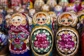 Colorful russian dolls at the market of Moscow