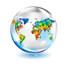 Colorful map abstract isolated in glass  ball