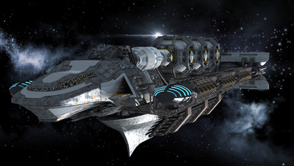 Alien battleship in deep space travel on galactic starfield