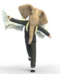 Obraz Man elephant head and wings - fototapety do salonu