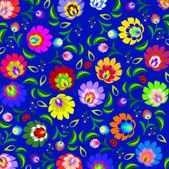 Tradycyjny polski ludowy wzór kwiatowy wektor - 66625450