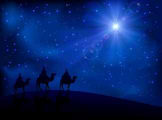 Three wise men and star Wall mural