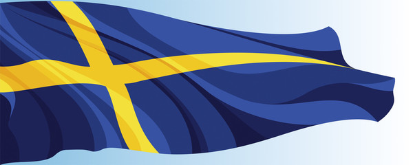The national flag of the Sweden on a background of blue sky
