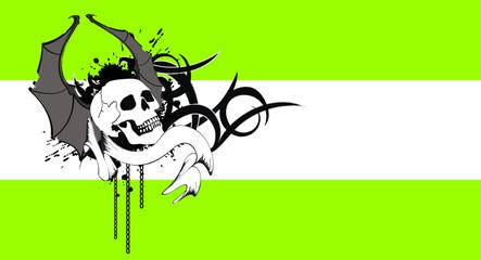 skull bat wings tattoo background0