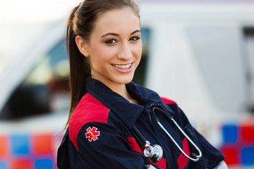 young female emergency medical technician