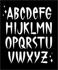 Hand written tattoo style font. Vector alphabet