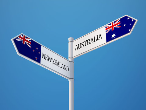 Australia New Zealand  Sign Flags Concept