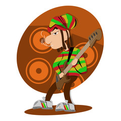 Reggae dread lock bass player Illustration