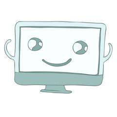 cute computer monitor character, vector illustration