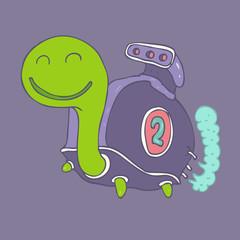 cartoon character speed turtle, vector illustration
