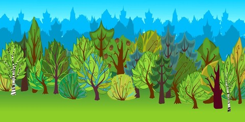 The illustration of cartoon forest