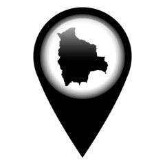 Vector pin with the map in - Bolivia