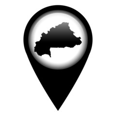Vector pin with the map in - Burkina Faso