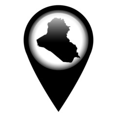 Vector pin with the map in - Iraq