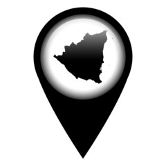 Vector pin with the map in - Nicaragua