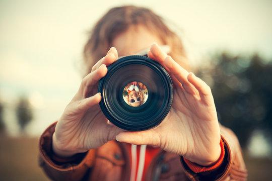 through camera lens
