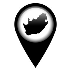 Vector pin with the map in - South Africa