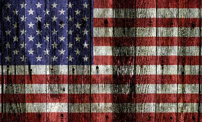 Usa Flag On Wood