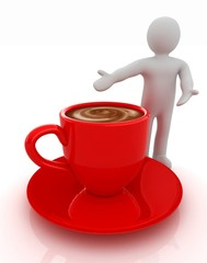 3d people - man, person presenting - Mug of coffee with milk