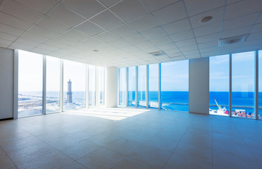 Empty hall with windows, sea view