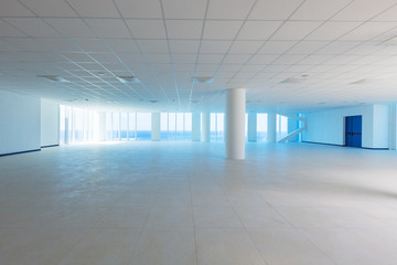 Empty hall with windows, sea view