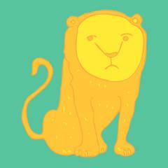 Cute lioness (lion) cartoon sitting vector illustration