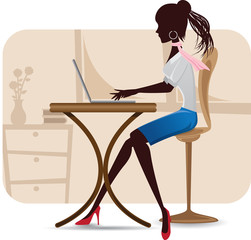silhouette of working woman with laptop