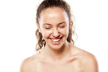 young smiling girl without makeup