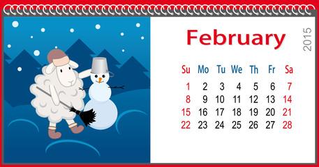 Calendar for February and lamb sculpts snowman