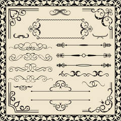 Set of calligraphy ornate elements