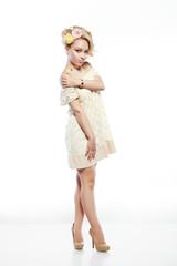 Woman in Ivory Dress