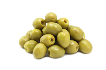 a handful of green olives on white background Wall mural