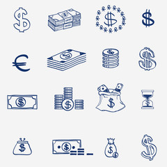 Money icons set doodle sketch hand draw. Finanse investment