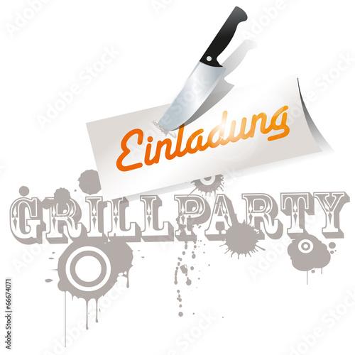 """grillparty einladung zettel messer grunge"""" stockfotos und, Einladung"""
