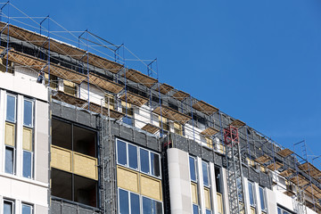 Scaffolding on building site