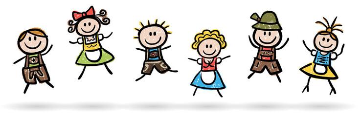 Lustige Leute in Tracht beim Freudensprung – handgezeichnet