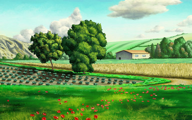 Wall Murals Green Rural landscape