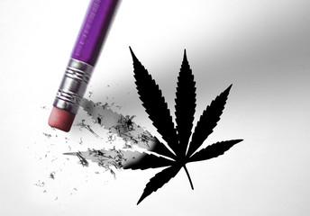 Eraser deleting a marijuana leaf