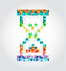 Abstract hourglass of pixels