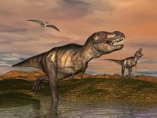 Tyrannosaurus rex dinosaurs - 3D render